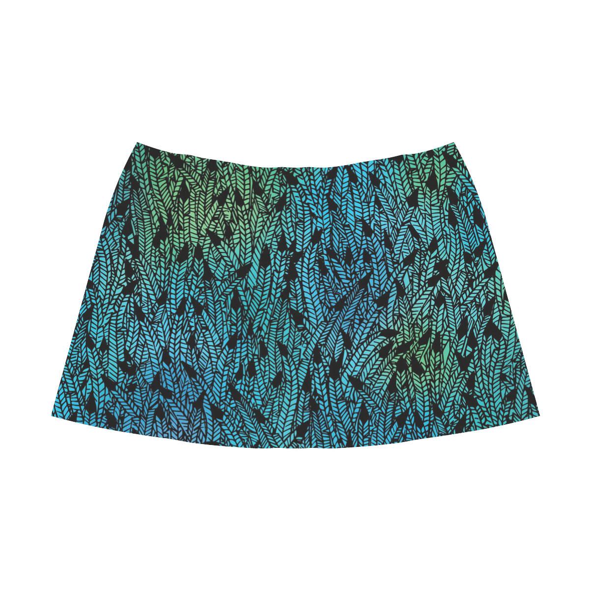 blue black feather pattern Mnemosyne Women's Crepe Skirt (Model D16)