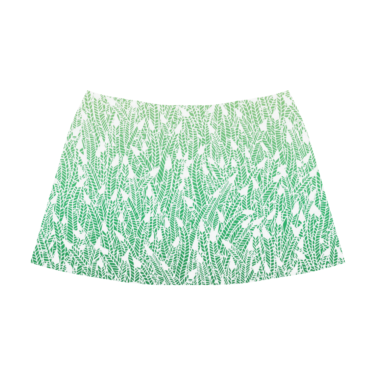 green ombre feathers pattern white Mnemosyne Women's Crepe Skirt (Model D16)
