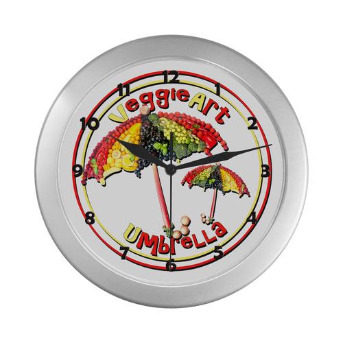 VeggieArt Umbrella Silver Color Wall Clock