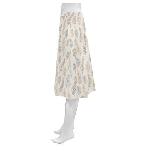 natural brown blue whimsical feather leaves patter Mnemosyne Women's Crepe Skirt (Model D16)