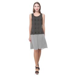 Dark Shadows and Silver Sleeveless Splicing Shift Dress(Model D17)
