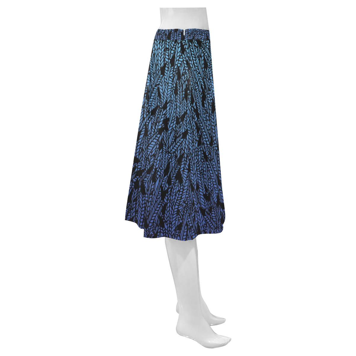 blue ombre black feather pattern Mnemosyne Women's Crepe Skirt (Model D16)