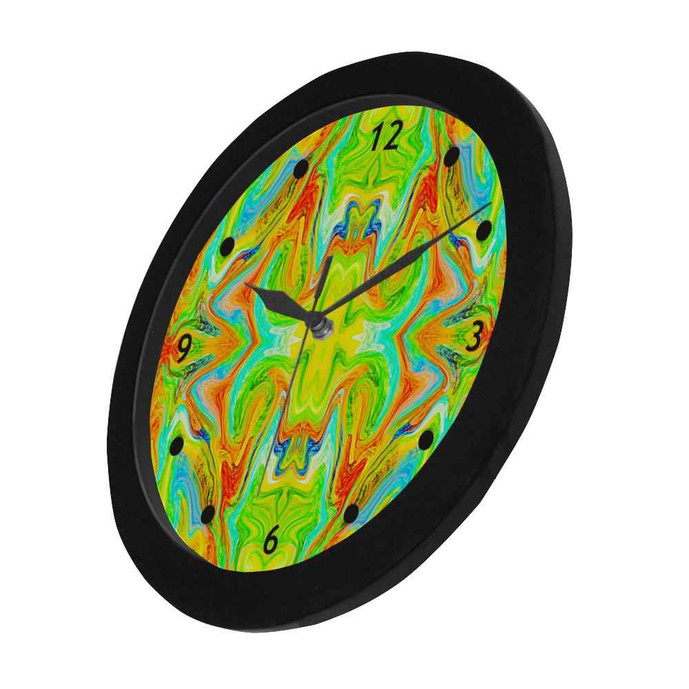 Multicolor Abtract Figure Circular Plastic Wall clock