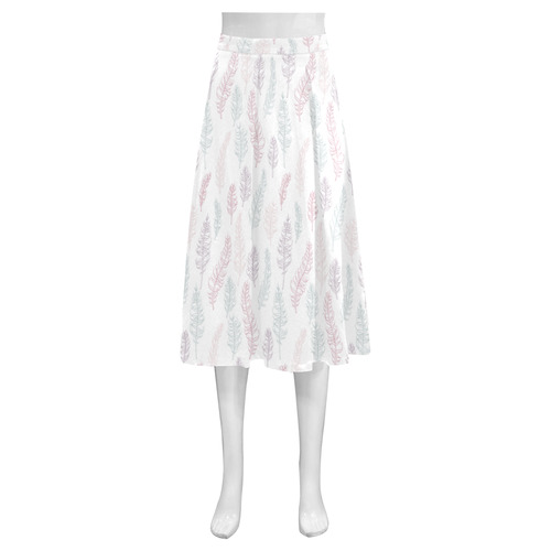 soft pink blue whimsical feather leaves pattern Mnemosyne Women's Crepe Skirt (Model D16)
