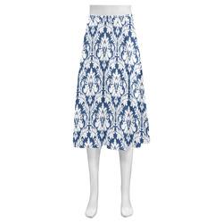 damask pattern navy blue and white Mnemosyne Women's Crepe Skirt (Model D16)