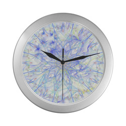 orchids 4 Silver Color Wall Clock