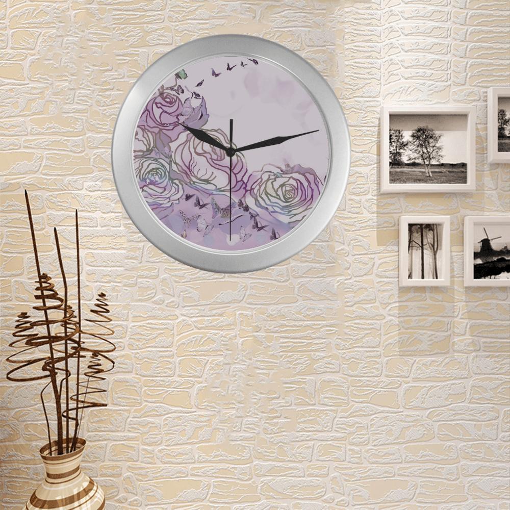 64 Silver Color Wall Clock