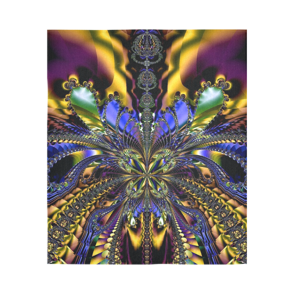 """Abstract in Blue and Gold Cotton Linen Wall Tapestry 51""""x 60"""""""
