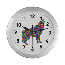 Abstract Triangle Wolf Silver Color Wall Clock