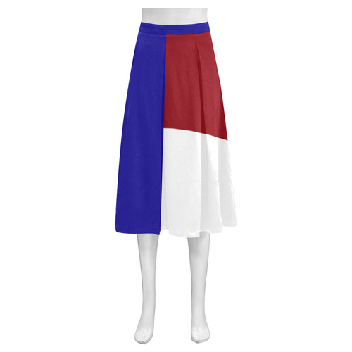 French Flag Mnemosyne Women's Crepe Skirt (Model D16)