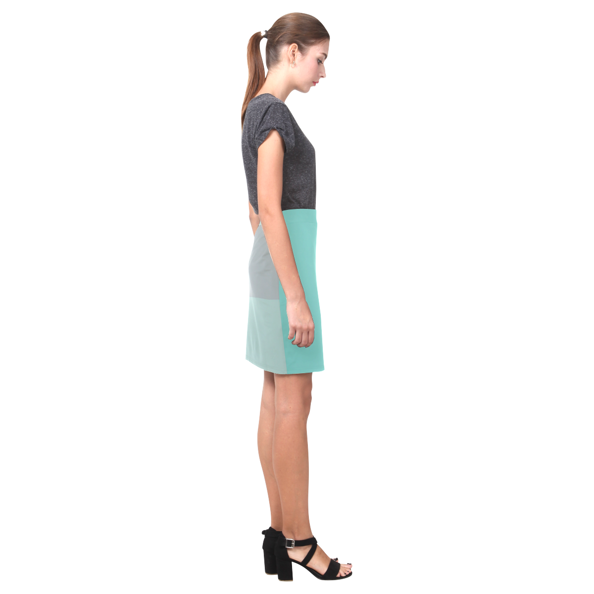 Grey with Teal Accents Nemesis Skirt (Model D02)