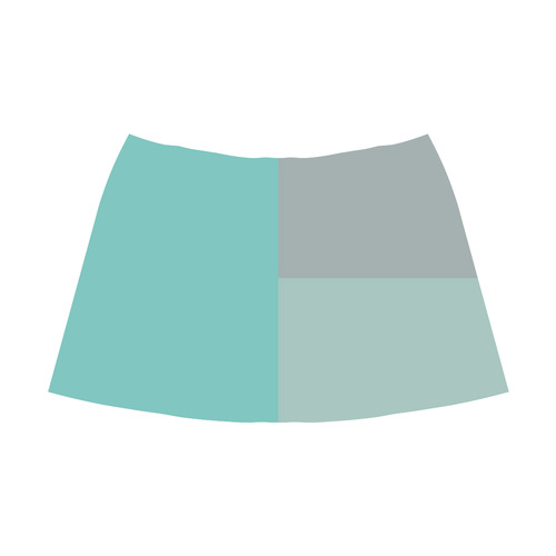 Grey with Teal Accents Mnemosyne Women's Crepe Skirt (Model D16)