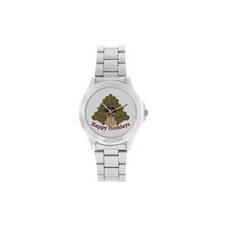 Christmas Pug and Christmas Tree Unisex Stainless Steel Watch(Model 103)