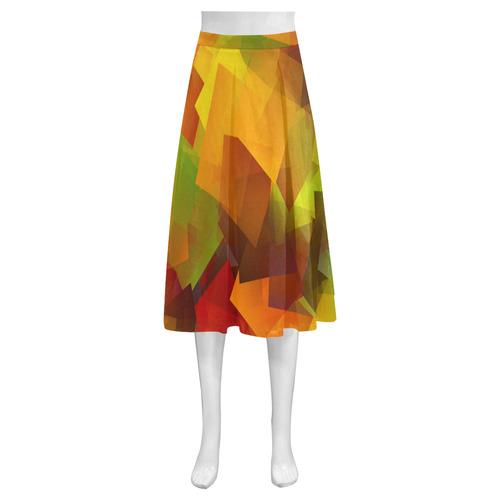 Indian Summer Cubes Mnemosyne Women's Crepe Skirt (Model D16)