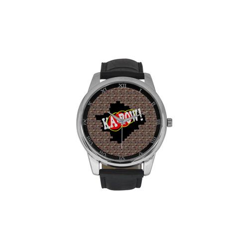 KA-POW! Men's Leather Strap Large Dial Watch(Model 213)