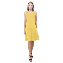 Primrose Yellow Sleeveless Splicing Shift Dress(Model D17)