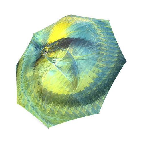 Light Blue Yellow Abstract Fractal Foldable Umbrella (Model U01)