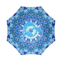Mandala Magic Blue JUMPING DOLPHINS Foldable Umbrella (Model U01)
