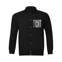 Awesome horse in black and white with flowers Men's Baseball jacket (Model H12)