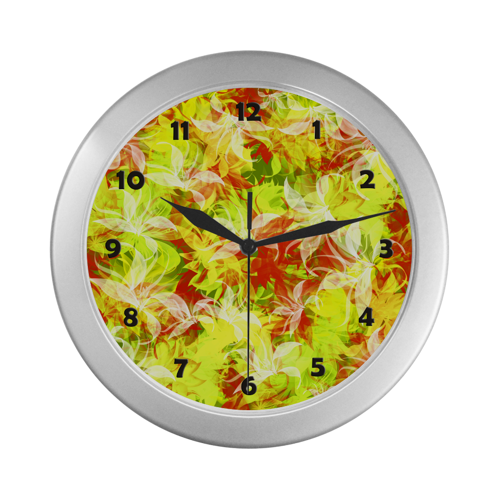 Beautiful Lilly Silver Color Wall Clock