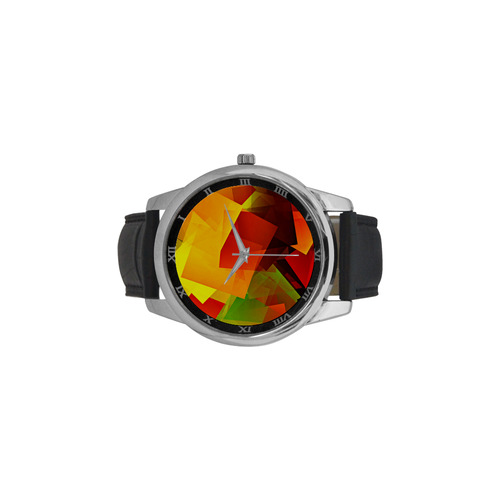 Indian Summer Cubes Men's Leather Strap Large Dial Watch(Model 213)