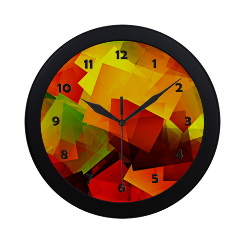Indian Summer Cubes Circular Plastic Wall clock