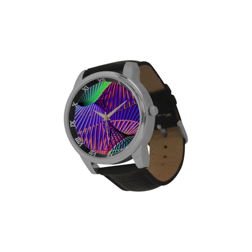 Colorful Rainbow Helix Men's Leather Strap Large Dial Watch(Model 213)