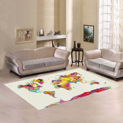 world map Area Rug7'x5'