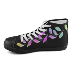 BORDER LEAVES TENDRIL Watercolor Colored White Women's High Top Canvas Shoes (Model 002)