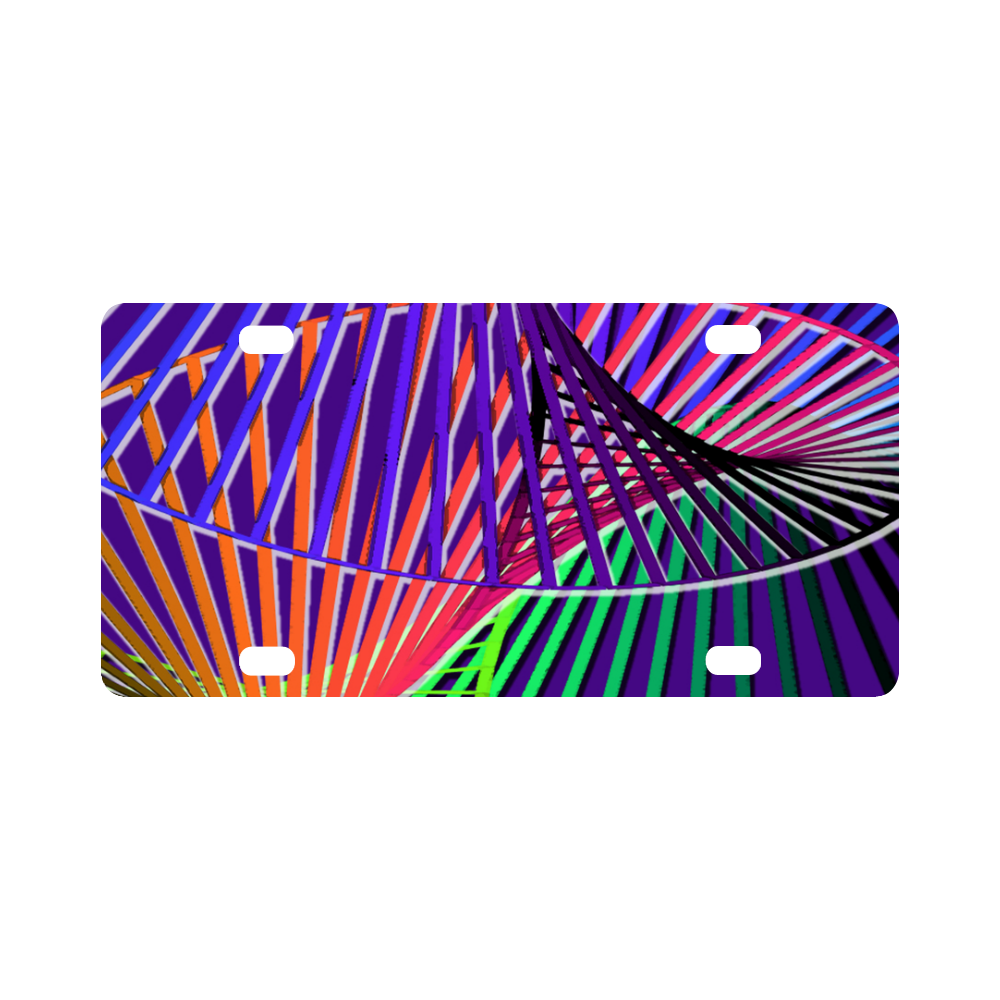Colorful Rainbow Helix Classic License Plate