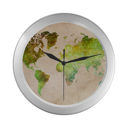 world map 32 Silver Color Wall Clock