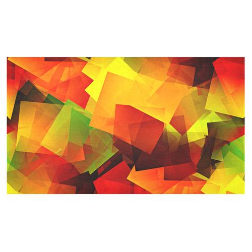 """Indian Summer Cubes Cotton Linen Tablecloth 60""""x 104"""""""