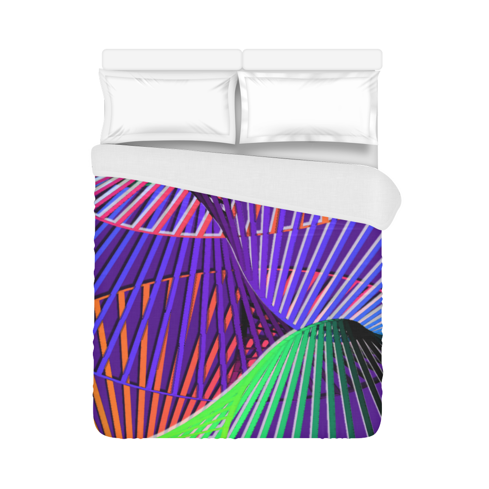 """Colorful Rainbow Helix Duvet Cover 86""""x70"""" ( All-over-print)"""