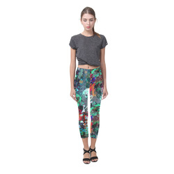 Graffiti Wall and Paint Splatter Capri Legging (Model L02)