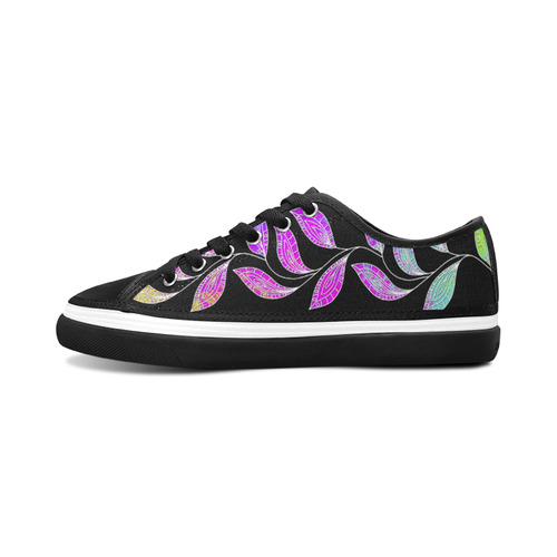 BORDER LEAVES TENDRIL Watercolor Colored White Women's Canvas Zipper Shoes/Large Size (Model 001)