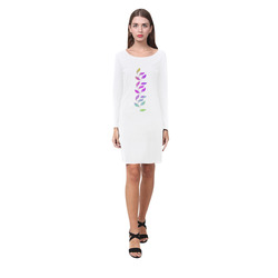BORDER LEAVES TENDRIL Watercolor Colored White Demeter Long Sleeve Nightdress (Model D03)