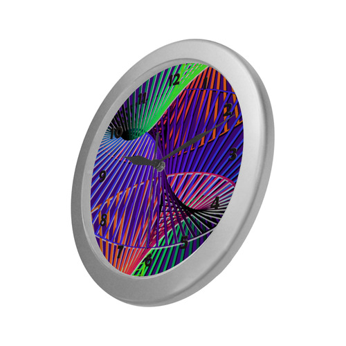 Colorful Rainbow Helix Silver Color Wall Clock