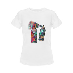 Graffiti and Paint Splatter Two Spray Cans Women's Classic T-Shirt (Model T17)