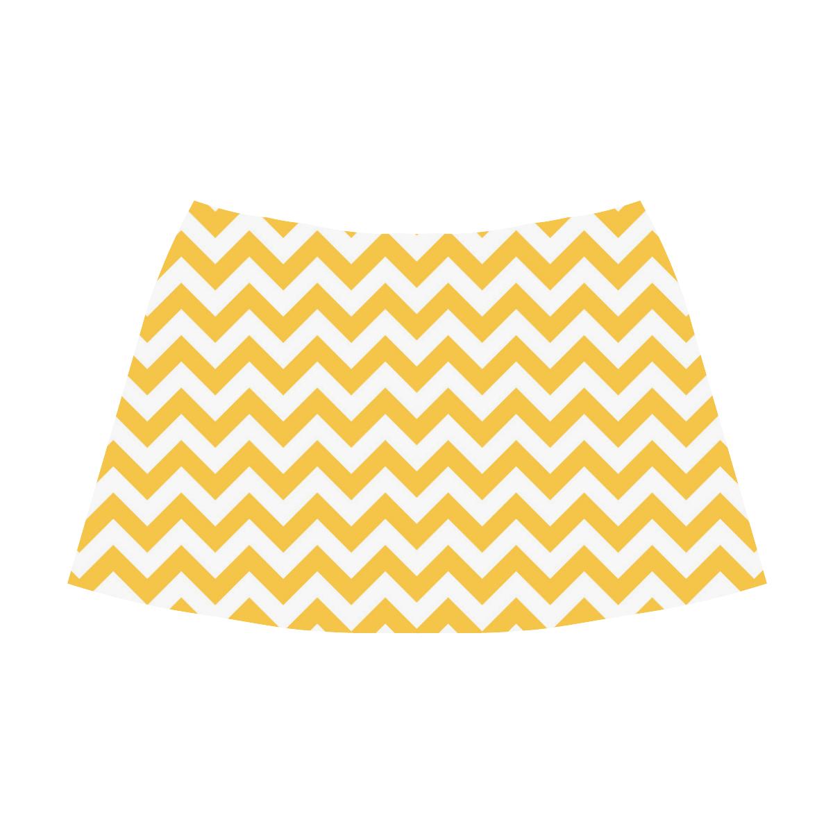 Sunny Yellow zigzag chevron pattern Mnemosyne Women's Crepe Skirt (Model D16)