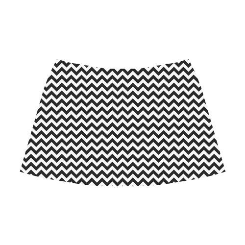 white black zigzag chevron pattern Mnemosyne Women's Crepe Skirt (Model D16)