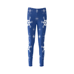 Snowflakes on Blue Cassandra Women's Leggings (Model L01)