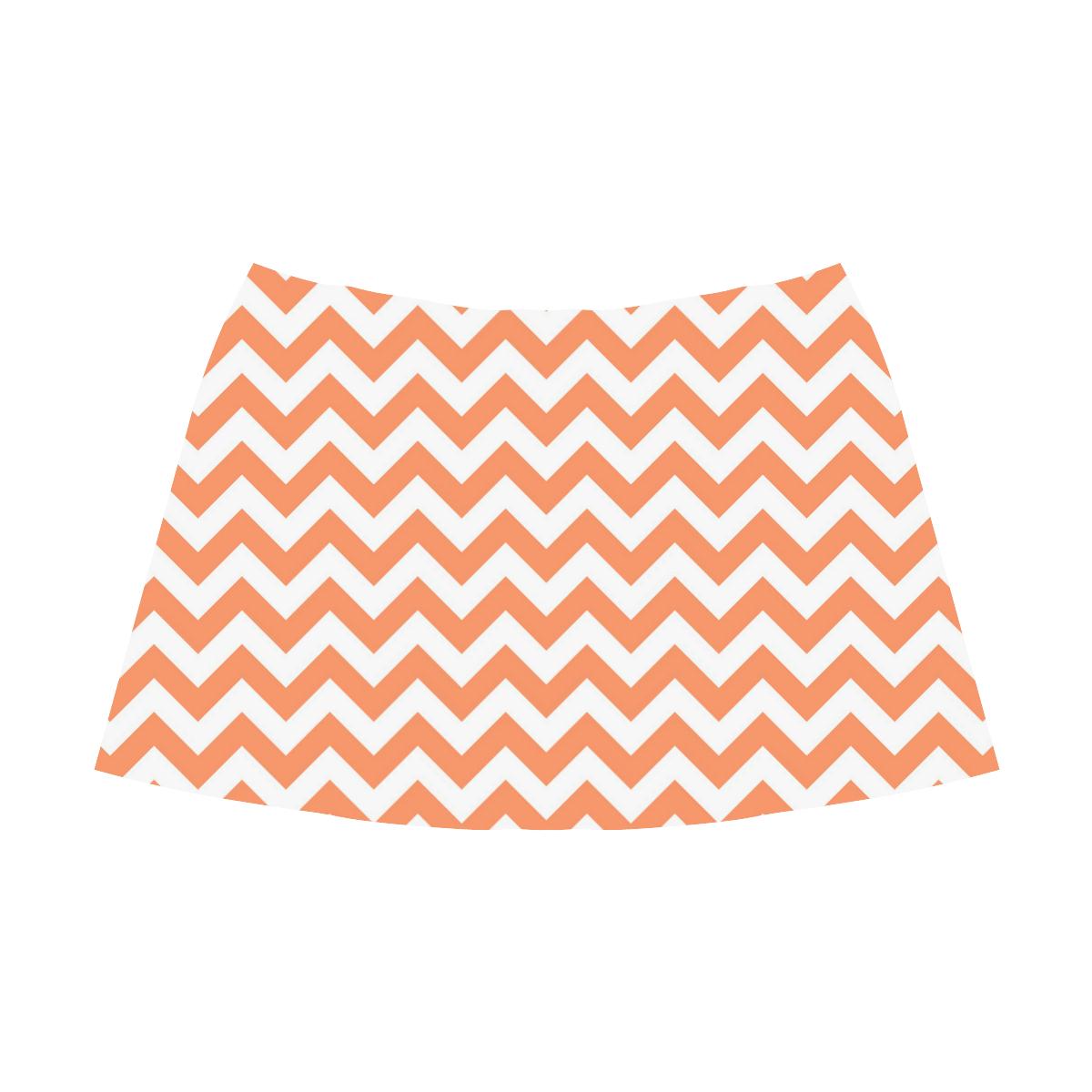 Tangerine Orange zigzag chevron pattern Mnemosyne Women's Crepe Skirt (Model D16)