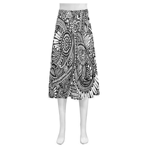 Black white abstract flower pattern hippie Mnemosyne Women's Crepe Skirt (Model D16)