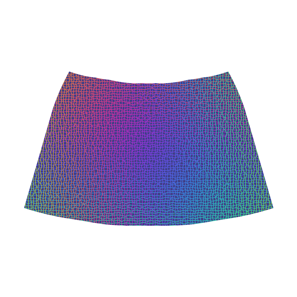 Rainbow Fine Art Grid Black Mnemosyne Women's Crepe Skirt (Model D16)