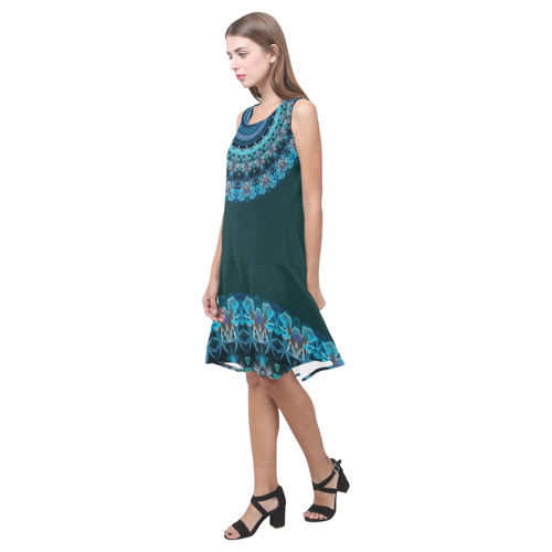 Aqua Kaleidoscope At Night Sleeveless Splicing Shift Dress(Model D17)