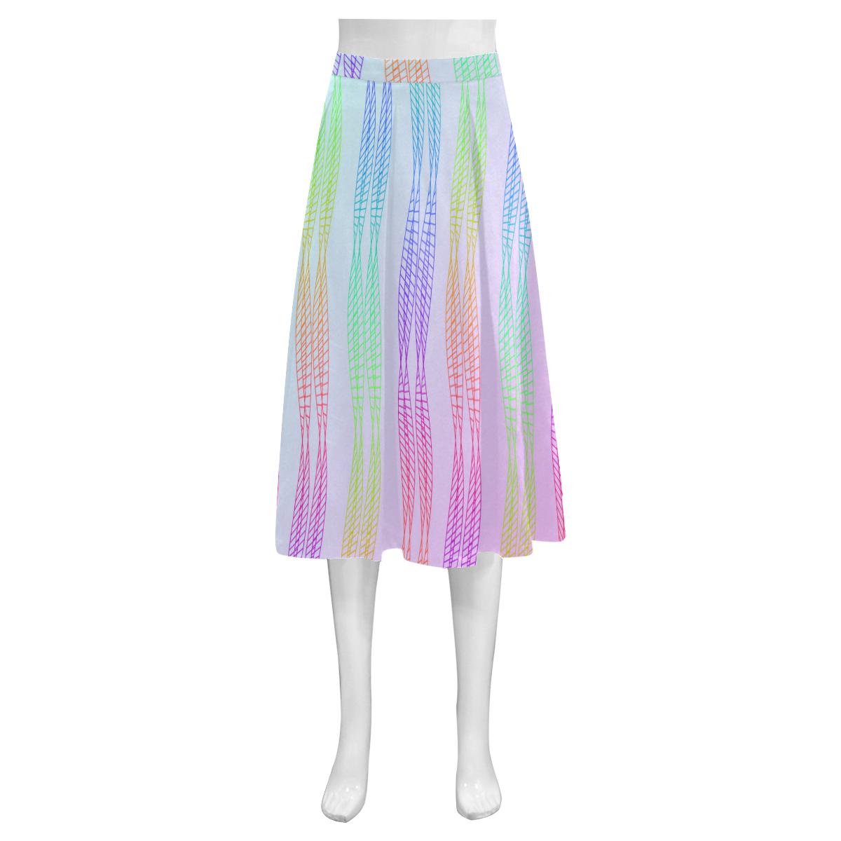 Curvy Rainbow Helix Mnemosyne Women's Crepe Skirt (Model D16)