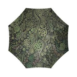3D Ornaments -Fantasy Tree, green on black - zoom Foldable Umbrella (Model U01)