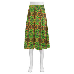 Brown and Green Floral Mnemosyne Women's Crepe Skirt (Model D16)