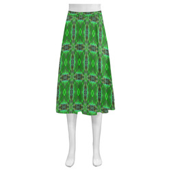 Green Geometric Pattern Mnemosyne Women's Crepe Skirt (Model D16)
