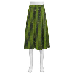 Green Stripe Mnemosyne Women's Crepe Skirt (Model D16)